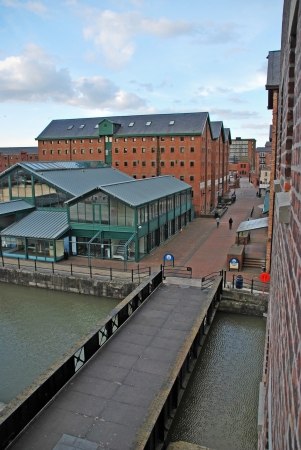sunset picture of Gloucester docks with typical warehouse buildings, United Kingdom Stock Photo - 17956731