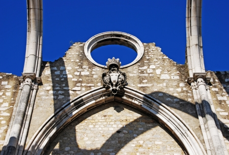 carmo: famous Carmo Church ruins after the earthquake in 1755 in Lisbon, Portugal