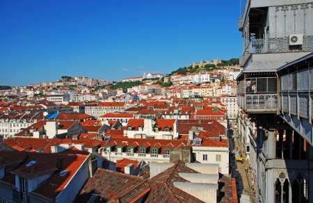 beautiful cityscape of Lisbon with Sao Jorge Castle and Santa Justa Elevator, Portugal photo