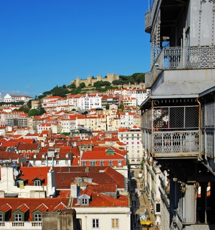 justa: beautiful cityscape of Lisbon with Sao Jorge Castle and Santa Justa Elevator, Portugal