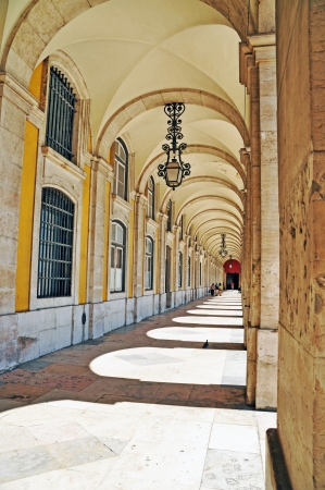 neoclassical: historical Commerce Square arcades in Lisbon, Portugal Editorial