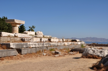 hippocrates: historical ruins of Asclepieion, ancient Hospital made by Hippocrates in Kos, Greece Stock Photo