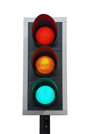 warning lights: traffic lights isolated on white background (all lights on)