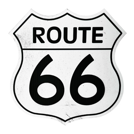 sign: vintage route 66 sign isolated on white background