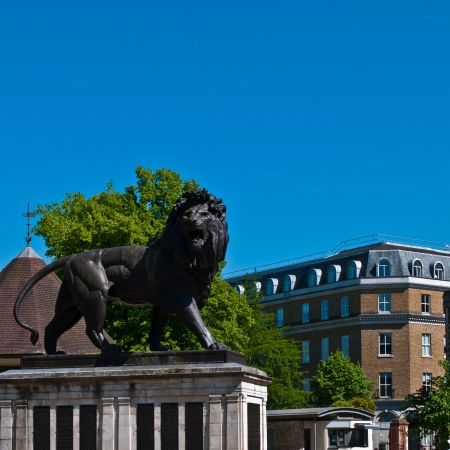 The Maiwand Lion at Forbury Gardens in Reading, England  square crop, plenty copy-space on blue sky  Stock Photo