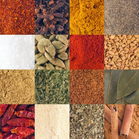 gorgeous collection of 16 spices  piri piri flakes, cloves, curry, black pepper, salt, cardamom pods, paprika, fenugreek seeds, coriander, parsley, garam masala, bay leaves, piri piri, garlic, oregano, cinnamon sticks  suitable as background, pattern or t photo