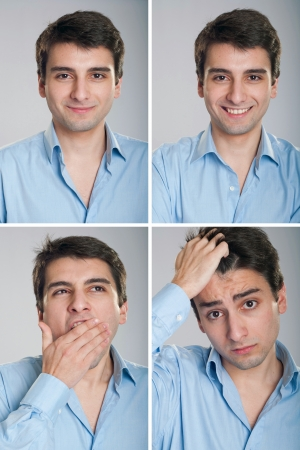 young businessman expressions (against a grey background) photo