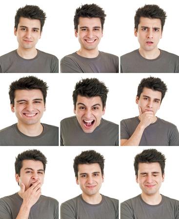 gestos de la cara: rostro joven y el hombre compuesto de expresiones aisladas sobre fondo blanco