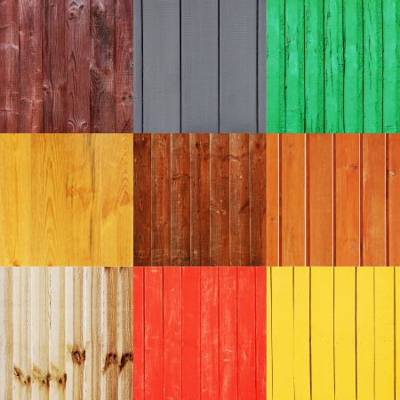 collection of 9 different wood planks  suitable as a background or texture  photo
