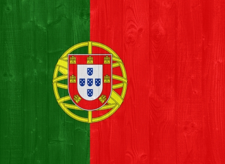 gorgeous Portugal flag painted on a wood plank texture photo