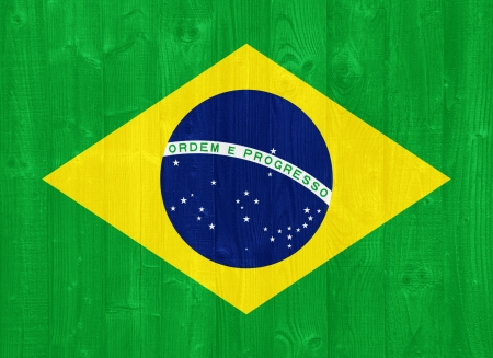 gorgeous Brazil flag painted on a wood plank texture photo
