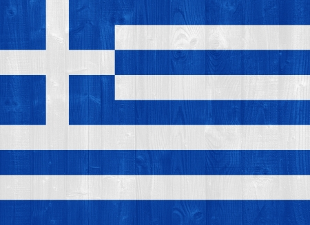 greek flag: gorgeous Greece flag painted on a wood plank texture Stock Photo