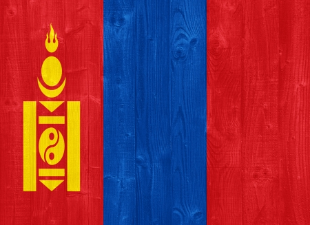 independent mongolia: gorgeous Mongolia flag painted on a wood plank texture