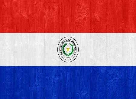 bandera de paraguay: hermosa bandera Paraguay pintado en una textura de madera del tablón