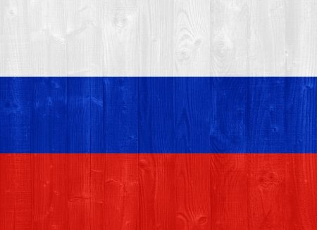 russia flag: gorgeous Russia flag painted on a wood plank texture Stock Photo