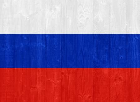 bandera rusia: hermosa bandera de Rusia pintado sobre una textura de madera del tablón Foto de archivo
