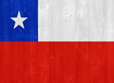 bandera de chile: hermosa bandera de Chile pintada en una textura de madera del tablón