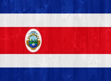 bandera de costa rica: hermosa Costa Rica bandera pintada en una textura de madera del tablón