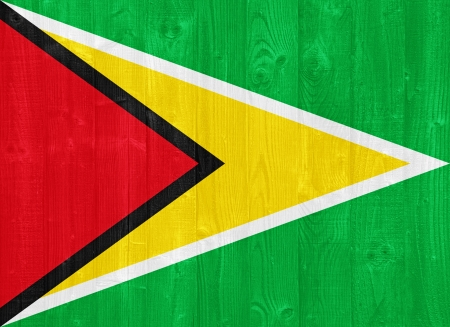 co operative: gorgeous Guyana flag painted on a wood plank texture