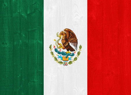 mexico flag: gorgeous Mexico flag painted on a wood plank texture