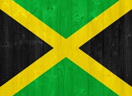 jamaican flag: gorgeous Jamaica flag painted on a wood plank texture