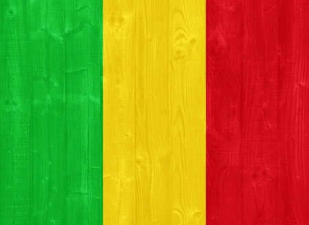 mali: gorgeous Mali flag painted on a wood plank texture