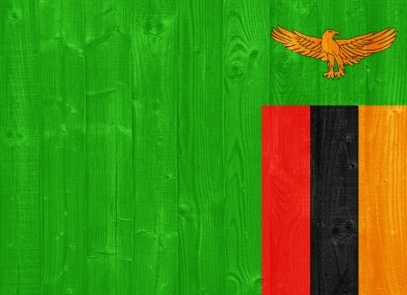 zambian: gorgeous Zambia flag painted on a wood plank texture