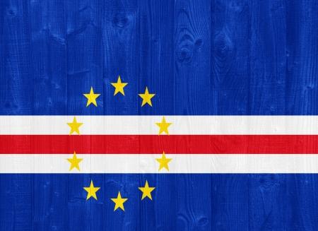 cape verde flag: gorgeous Cape Verde flag painted on a wood plank texture Stock Photo