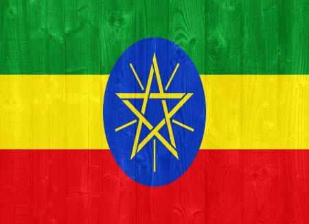 ethiopia: gorgeous Ethiopia flag painted on a wood plank texture Stock Photo