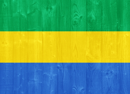 gabon: gorgeous Gabon flag painted on a wood plank texture