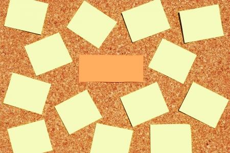 cork sheet: many reminder notes on a corkboard Stock Photo