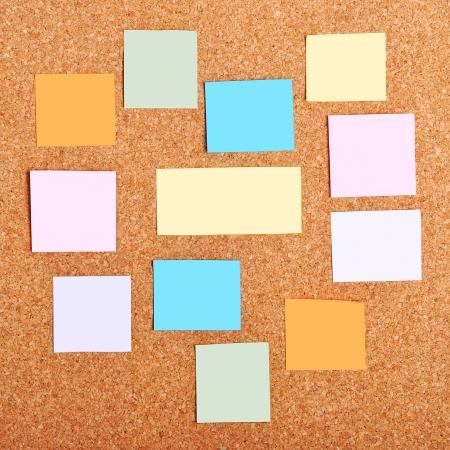cork sheet: colorful reminder notes on a corkboard
