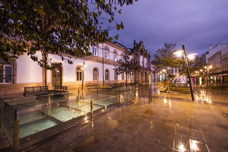 Building of the Provincial Council in the Plaza de San Marcos de Lugo, Spain. Nice night view lit by streetlights and full of colorful