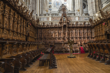 Chairs of the choir of the New Cathedral of Salamanca in Spain, by Joaqu?n Churriguera. 18th century