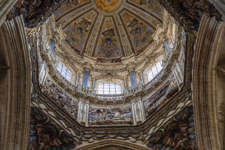 Dome of the cruise of the New Cathedral of Salamanca in Spain, a mixture of Gothic, Renaissance and Baroque styles. 16th to 18th centuries
