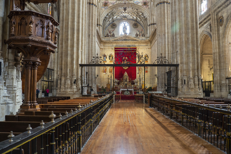 Main altar of the New Cathedral of Salamanca in Spain, a mixture of Gothic, Renaissance and Baroque styles. 16th to 18th centuries