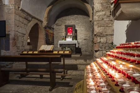 Inside of the church of Santa Mar?a La Real of O Cebreiro, (Lugo), Spain. A pre-Romanesque construction of the 14th century
