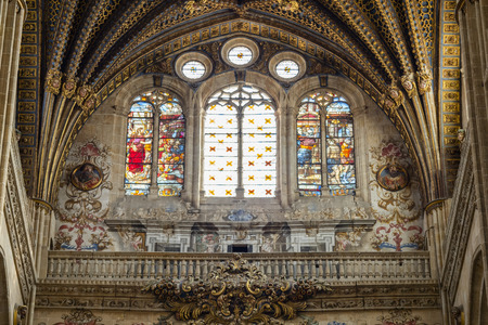 Stained glass window of the New Cathedral of Salamanca in Spain, by Joaqu?n Churriguera. 18th century