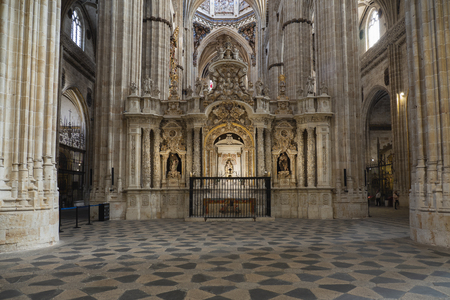 Inside of the New Cathedral of Salamanca in Spain, a mixture of Gothic, Renaissance and Baroque styles. 16th to 18th centuries