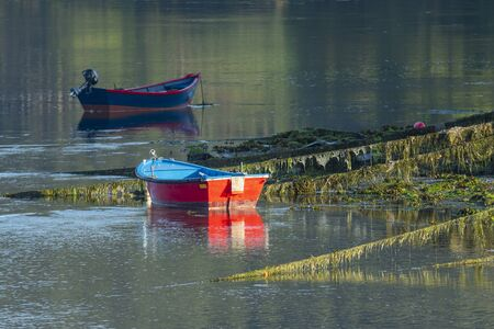 Fishing boats on the seashore.Fishing port of Ortigueira, in Galicia. Spain