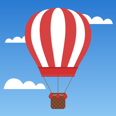 Beautiful red hot air balloon traveling around the world.