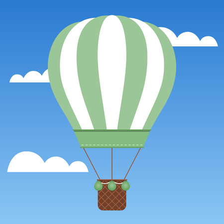 Beautiful green hot air balloon traveling around the world.