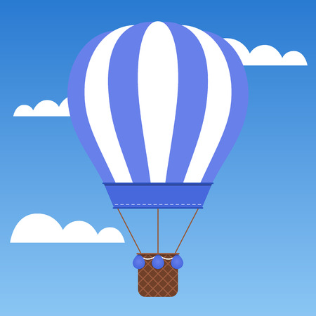Beautiful blue hot air balloon traveling around the world. Ilustrace