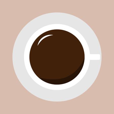 Bovenaanzicht van een Hot Coffee Cup Stock Illustratie