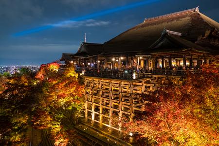 shinto: Autumn night light up at Kiyomizu-dera temple and the large veranda (Kiyomizu stage), Kyoto, Japan. Editorial
