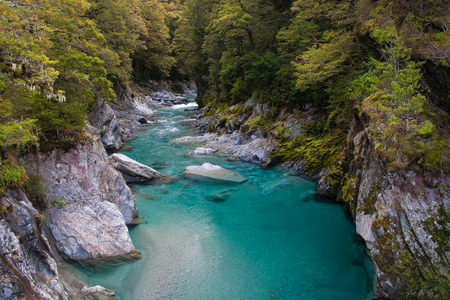 Blue Pools, Haast Pass,Mount Aspiring National Park , New Zealand. Stock Photo