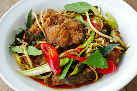 catfish: Spicy fried stir catfish  with chilli paste , Thai spicy herb food. Stock Photo