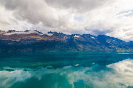 wakatipu: Mountain & reflection lake from view point on the way to Glenorchy, South island of New Zealand
