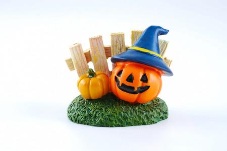 Halloween decoration accessory jack o lantern pumpkin isolated on white background Stock Photo