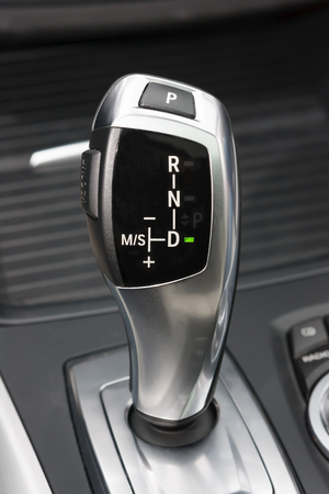 reversing: Sportscar gear shifter Stock Photo